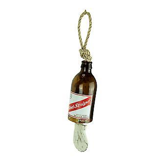 صدف زجاجة بيرة الشريط الأحمر وحبل ريح الرنين