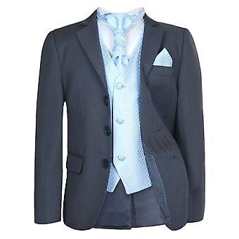 男孩灰色&蓝色婚礼克拉瓦特套装套装