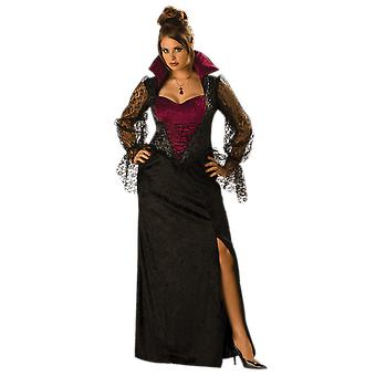 Womens Midnight Vampiress Plus Size Halloween Vampire Fancy Dress Costume