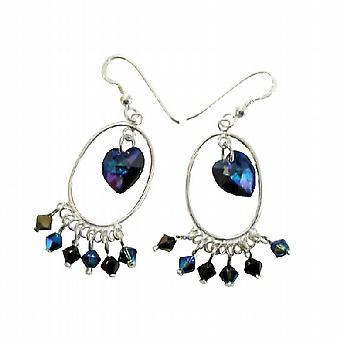 Swarovski Morion AB 2X Crystal & AB Dorado Crystal Sterling Earrings