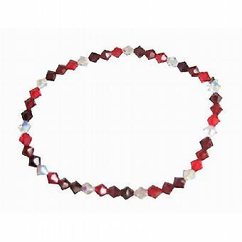 Bracciale estensibile rosso granato chiaro cristalli Siam di Swarovski