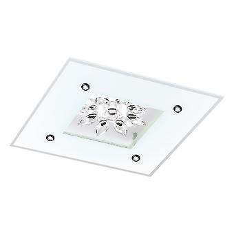Eglo - Benalua 1 blanco satinado y cristal LED cuadrado techo luz EG96536