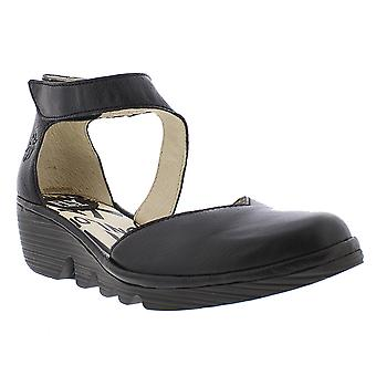 Womens Fly London Yeli Luxor Black Lace up Wedge Heel Sandals Size