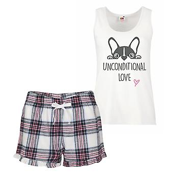 Frenchie amor incondicional Tartan rosa pijamas