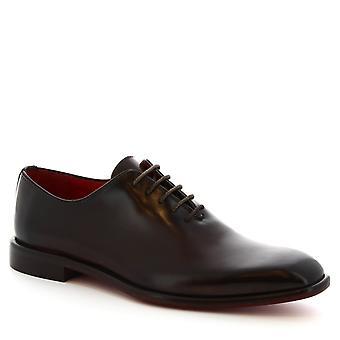 Leonardo Shoes Men's handmade square toe wholecuts dark brown calf leather