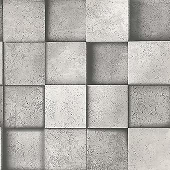 Efecto 3D cuadrado piedra plata gris cobre metalizado papel pintado decoración fina
