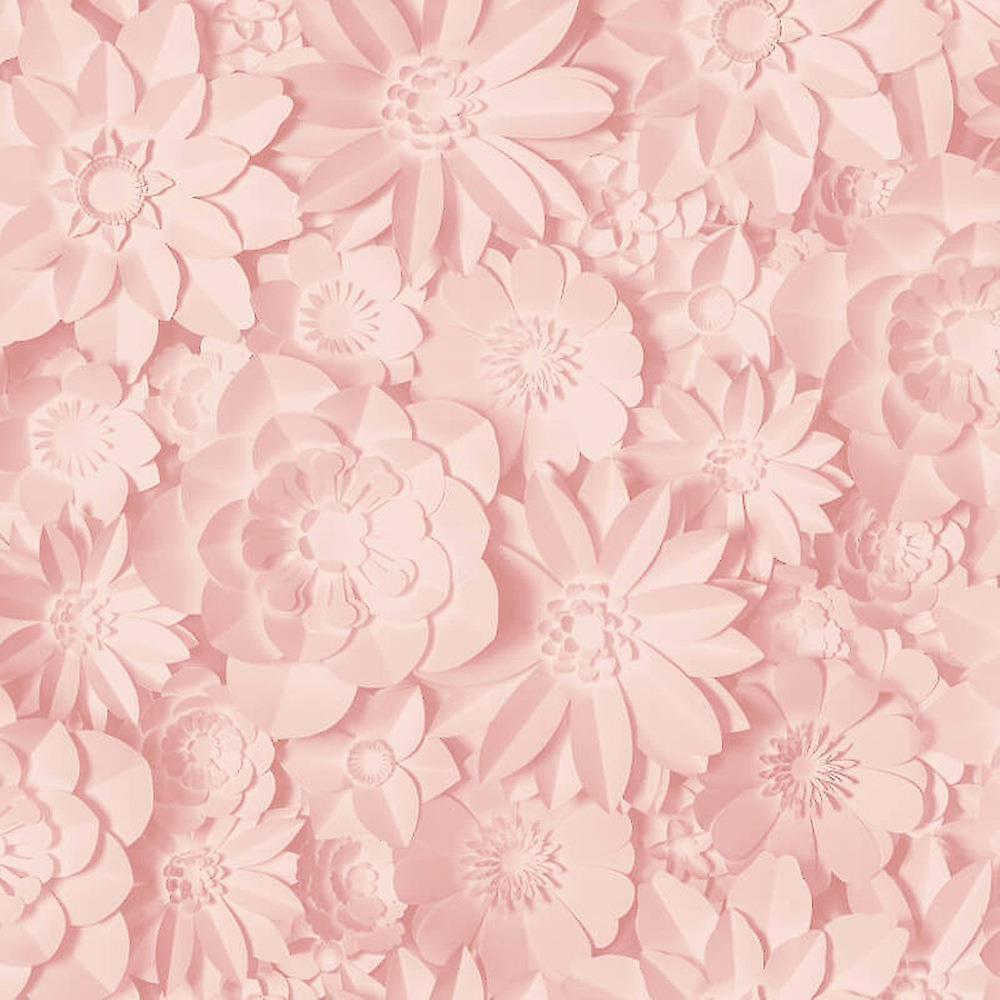 3d Effect Floral Wallpaper Flowers Rose Pink Washable Fine Decor