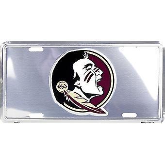 Florida State Seminoles NCAA Silver Mirror License Plate