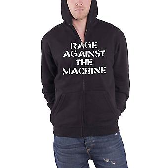 Rage Against The Machine Hoodie Large Fist Logo new Official Mens Black Zipped