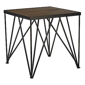 Fusion Living Industrial Style Legno scuro e Metallo Quadrato Tavolo laterale