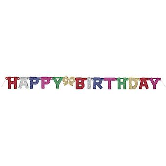 Happy Birthday Multicoloured Glitter Party Banner