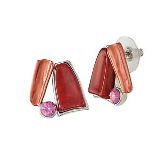 Ewige Kollektion Panama Red Multi Emaille Silberfarbe Gestüt Ohrstecker
