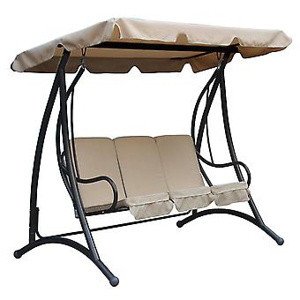 Charles Bentley 3 Seater Premium Outdoor Swing Panca Sedia w/ Beige Canopy