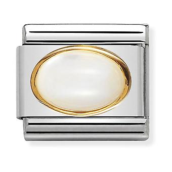 Nomination Classic Oval Stone Steel, Moonstone and 18k Gold Link Charm 030502/17