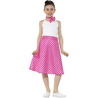 Polkat punteado falda rosa 50s estilo y cuello pañuelo niñas niñas traje de carnaval tema fiesta niños traje