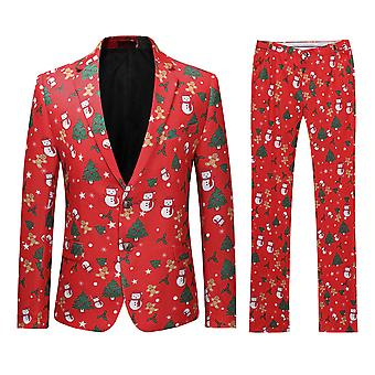 Allthemen Mens Elk &Christmas Trees Printed Suit two-piece (Blazer +Pants)
