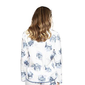 Cyberjammies 4236 Women's Harper White Mix London Print Cotton Pyjama Top