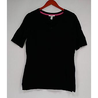 Isaac Mizrahi Live! Vrouwen ' s trui elleboog mouw cross-Neck zwart A305210