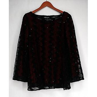 Bob Mackie Sheer Mesh Glittered Top Black/ Red A259458