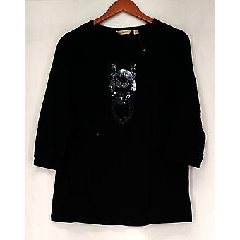 Motto 3/4 Maniche Abbellito Pull Over Top Deep Black Donne