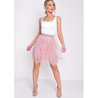 Tulle High Waisted Mini Gonna Rosa