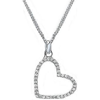 Bella Cubic Zirconia Set Angled Heart Pendant - Silver