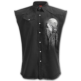 Spiral Forest Wolf Sleeveless Stone Washed Workshirt L