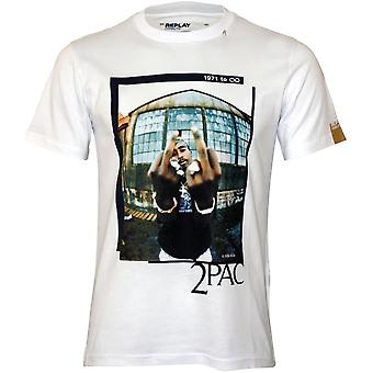 Replay 2Pac Finger Salute T-Shirt, White