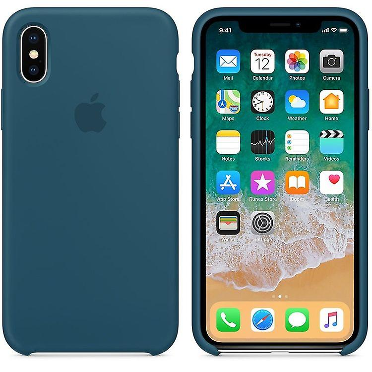 Original Packed MR6G2ZM/A Apple Silicone Microfiber Cover Case for iPhone X - Cosmos Blue