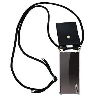 Cadorabo Handykette Hülle für Sony Xperia XZ / XZs Case Cover - Necklace Umhänge Hülle aus Silikon mit Kordel Band Schnur und abnehmbarem Etui – Schutzhülle Case Cover