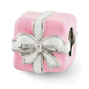 925 Sterling Silver Polished Antique finish Reflections Pink and White Enameled Present Bead Charm