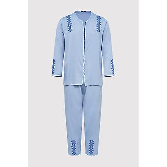 Jabador kotba uomini's tunica a maniche lunghe ricamata top e pantalone co-ord set in blu