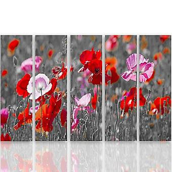 Five Part Picture On Canvas, Pentaptych, Type C, Red Poppies