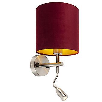 QAZQA Lampe murale en acier avec lampe de lecture et voile d'ombre 20/20/20 rouge