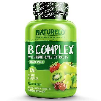 B complex with natural vitamin b6, folate, b12 & biotin - 120 caps | 4 month supply (vegan)