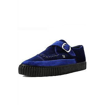TUK Shoes Midnight Blue Velvet Monk Buckle Pointed Creeper Sneaker
