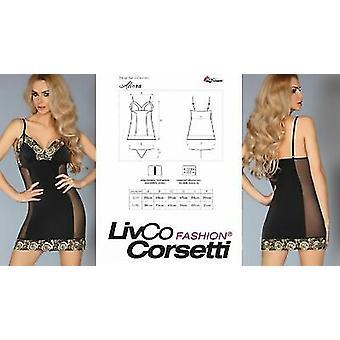 Livco Corsetti ' Aliora ' pure zwarte & gouden Pyama & parfum