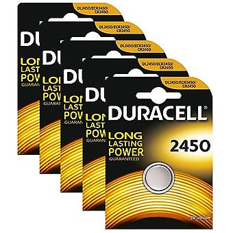 5 x Duracell CR2450 3V Lithium Coin Cell Battery 2450 DL2450 K2450L
