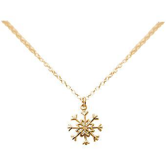 GEMSHINE Halskette SCHNEEFLOCKE 925 Silber, vergoldet oder rose