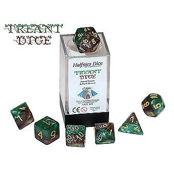 Treant Halfsies Dice-7 Die Polyhedral Forest Green & Bark Brown