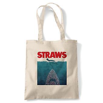 Strå JAWS inspirert Environmental Ocean tote | Truede arter forurensning Global Warming Ocean | Gjenbrukbare shopping Cotton Canvas Long håndtert Natural shopper miljøvennlig