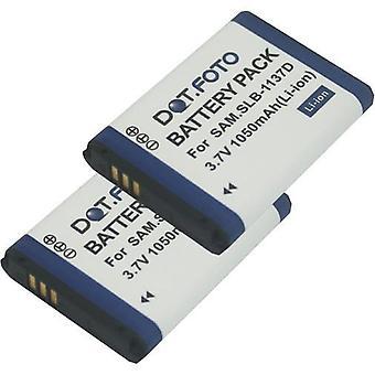 2 x Dot.Foto batería de reemplazo Samsung SLB - 1137D - 3.7v / 1050mAh