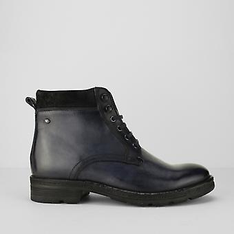 Base London Panzer Mens Leather Casual Boots Blue