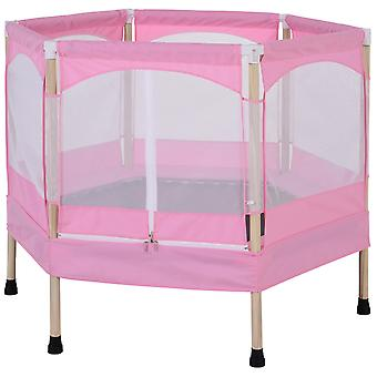 HOMCOM Kids Trampoline Outdoor Bounce Hexagon w/ Safety Enclosure Net and Spring Pad Pink