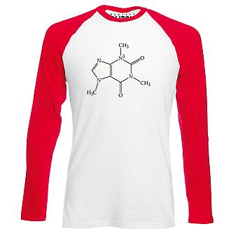 Reality glitch caffeine molecule mens baseball shirt - long sleeve