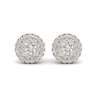 Boucles d'oreilles Igi certifiés 0,75 ct diamant double halo stud en or jaune 10k