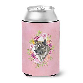 Carolines Treasures  CK4113CC Akita Pink Flowers Can or Bottle Hugger