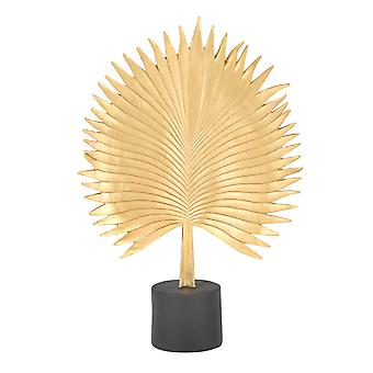 Polyresin Palm Leaf Decor Piece with Block Stand, Gold and Black