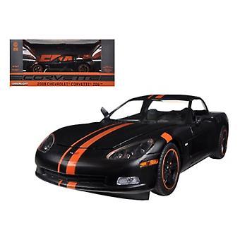 2009 Chevrolet Corvette C6 Z06 Black / Orange 1/24 Diecast Car Model by Greenlight