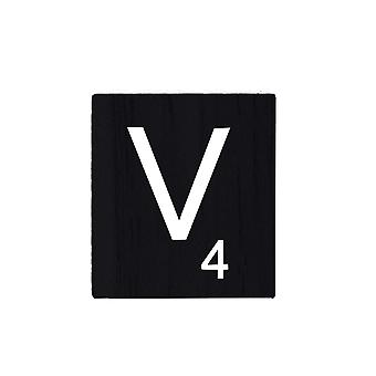 Black Wooden Scrabble Letters with Printed Numbers and Alphabets -V